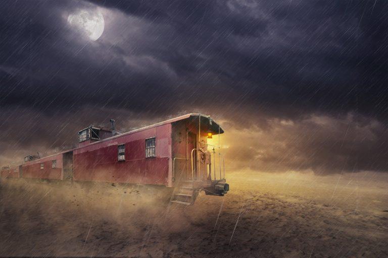 train, dark, railway